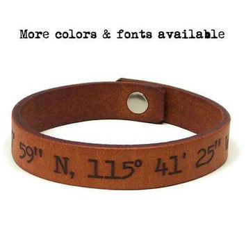 GPS Bracelet, Latitude Longitude Bracelet, Custom Coordinates, Laser Engraved Leather Bracelet, Personalized Mens Gifts, European Leather