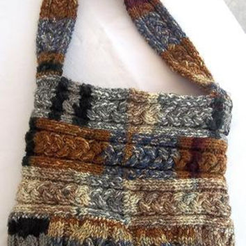 Multicolored and Lined Tote Bag Hand Knitted