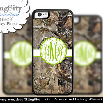 Camo Apple Green Monogram iPhone 5C 6 Plus Case iPhone 5s 4 case Ipod Realtree Personalized Country Inspired Girl