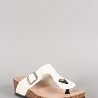 Bamboo Leatherette Buckle Thong Footbed Wedge Sandal