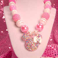 Pink Minnie Mouse Rhinestone Necklace, Chunky Beaded Necklace, Disney Boutique Jewelry