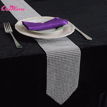 Luxury Table Runners 275*12CM Bling Sparkly Diamond Mesh Crystal Rhinestone Wedding Table Runner High Quality 6Colors 1Pcs/lot