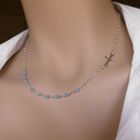 """Sideways Cross - Blue Chalcedony Rosary Style Necklace, Sterling Silver Beaded Chain 15"""", 16"""", 18"""" Etc."""