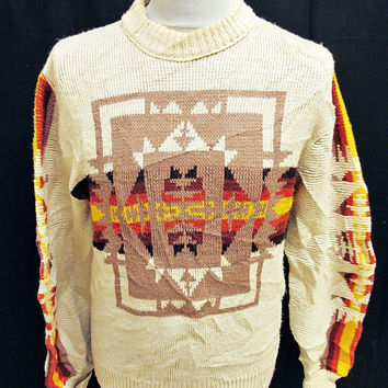 Vintage 80s Aztec Pattern Cream Warm Sweater Jumper Small