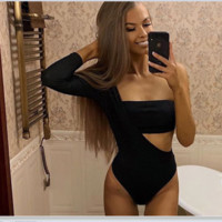 One shoulder long sleeve dig cut asymmetric shoulder show navel sexy hollow Onesuit
