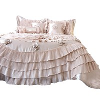 Tache Luxury Floral Satin Ruffle Frosted Field Beige Comforter Set (MZ1051)