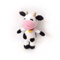 Crochet Baby Rattle Amigurumi Cow Crochet Cow Stuffed Toy Cow Nursely Toy Baby Toy Kawaii Cow Farm Animal Plush Baby Shower Gift Ideas