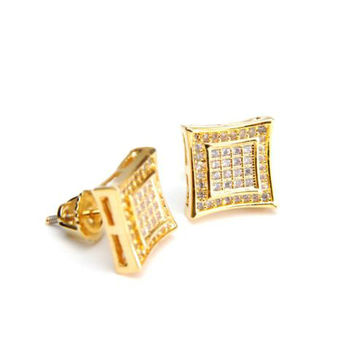 Double Square Kite Screw Back Stud Gold Plated Earring