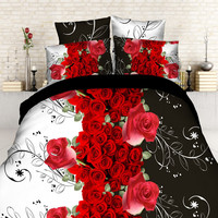 red rose3d bedding set HD bed linen bedding set family set The household quilt cover bed sheets pillowcases fashion Queen size