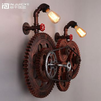 Loft Vintage Wrought Iron Edison Bulb Gear Chain Wall Lights Fixture Metal Industrial Retro Wall Lamp Sconces for Cafe Bar Decor