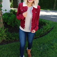 Walk The Line Jacket: Burgundy/Ivory