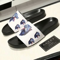 Gucci High Quality Newest Popular Men Casual Wolf Head Pattern Sandal Slipper Shoes White
