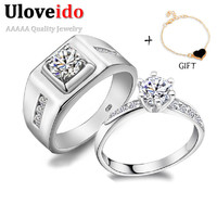 50% off A Pair of Wedding Couple Rings for Men and Women Luxury Silver Plated Stone Engagement Ring for Love Jewelry Ulove J473