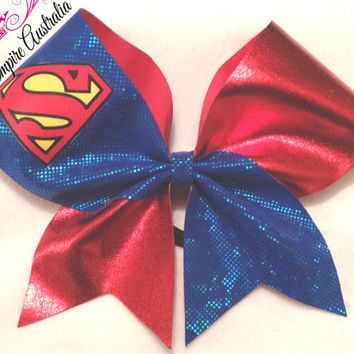 Cheer Empire Bows: Hologram and metallic Superhero Superman Cheer Bow / Cheerleading Bow on stiffened grosgrain ribbon