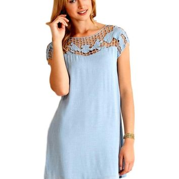 Crochet Yoke Shift Dress, Light Blue