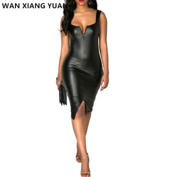 WAN XIANG YUAN Sexy Dress 2017 Summer V Neck Mini Leather Bodycon Dress Women Sleeveless Sheath Black Party Dress vestidos 1208