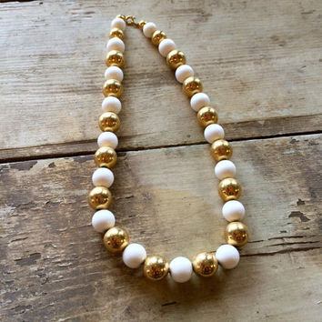 Gold & White Beaded Vintage Necklace, Vintage Jewelry, Costume Jewelry, Short Necklace, Choker