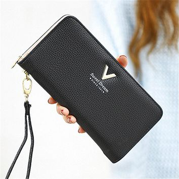 2018 Fashion Women Wallet Long Zipper Pu Handbag Clutch Best Phone Wallet Female Case Phone Pocket Women's Purse Carteira Femme