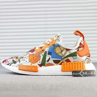 HERMES x ADIDAS NMD R1 Boost Fashion Casual Trending Sneakers Shoes White+Orange G-SSRS-CJZX