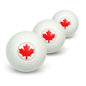 Canada Maple Leaf Flag Novelty Table Tennis Ping Pong Ball 3 Pack