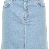 MOTO High-Waisted Denim Skirt - Bleach