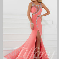 Scoop Neckline Sheer And Beaded Mermaid Prom Dress Tiffany Designs 16084
