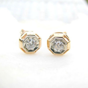 Art Deco Diamond Stud Earrings - Fiery Old Mine Cut Diamonds 21007feb4