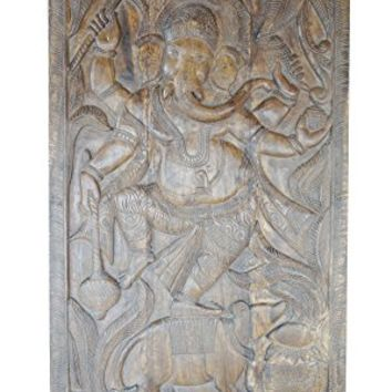 Antique Carved Wall Sculpture Ganesha Door Panel Grounding CHAKRA , Zen Interior Design