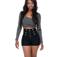 Black & White Stripe Crossback Long Sleeve Crop Top