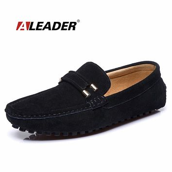 Casual Leather Mens Flats Shoes Summer Autumn Suede Leather Loafers for Man Comfort Moccasins Fashion Mens Driving Shoes