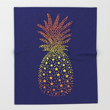 Golden Pineapple Stars Throw Blanket by ES Creative Designs