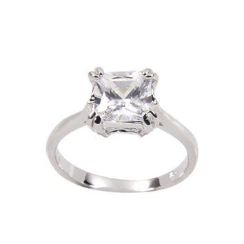 Classic Princess Cut Engagement Style Solitaire Ring in Sterling Silver and Rhodium Plate Finish