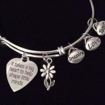 It Takes a Big Heart to Shape Little Minds Expandable Charm Bracelet Silver Adjustable Bangle Teach Inspire School Gift