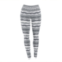 "Empire Ruhl ""51 Shades of Gray"" Gray White Yoga Leggings"