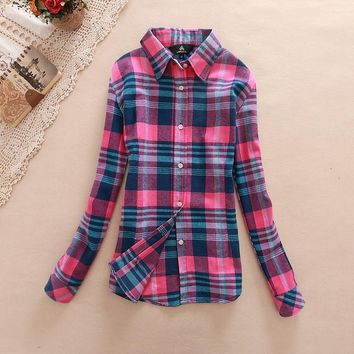 Long sleeve ladies cotton flannel casual shirt  plus size top