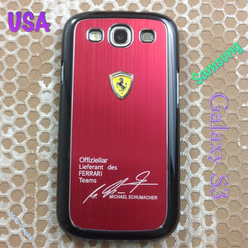 Ferrari Samsung Galaxy S3 Case Ferrari 3D Metal Logo With Aluminum Cover for S3 / i9300 - F1 Red