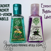 Tracker Jacker AntiVenom & Essence of Nightlock Hunger Games Inspired Party Favor Labels