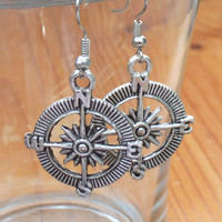 Steampunk Victorian Compass pocket watch nautical pirate pendant charm earrings