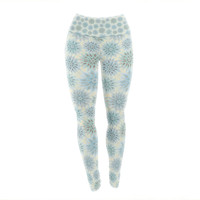 "Julia Grifol ""My Delicate Flowers"" Blue Green Yoga Leggings"