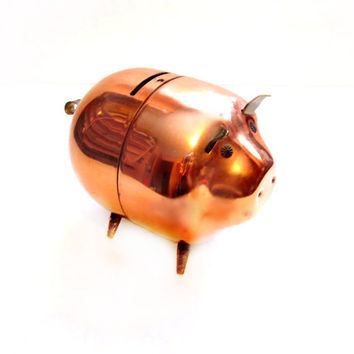 Cute Piggy Bank / Copper Metal Pig Bank