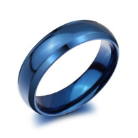 Fashion Titanium Steel Blue Band Rings (6mm) Mens/Womens Couples Wedding Engagement Size 4/5/6/7/8/9/10/11/12/13/14 = 1930078916