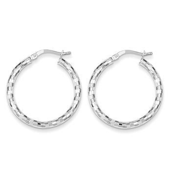 Sterling Silver Textured Hollow Hoop Earrings