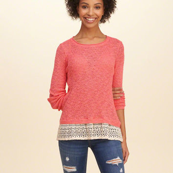 Girls Lace Hem Pullover Sweater | Girls Tops | HollisterCo.com