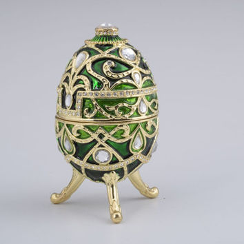 Green Faberge Egg Handmade Trinket Box by Keren Kopal Decorated with Swarovski Crystals