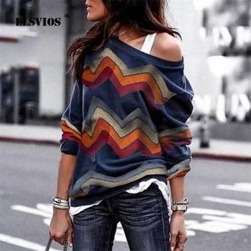 ELSVIOS Women Blouse Sexy Off Shoulder Long Sleeve Shirt Women Spring Printed Tops Autumn Knitted Pullover Blusas Camisas Mujer 1