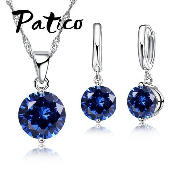 PATICO 925 Sterling Silver CZ Crystal Romantic Jewelry Sets For Women Wedding Necklace Dangle Hoop Earrings Set 8 Color Options