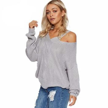 Women's Fashion Shoulder Cut Out Sweater