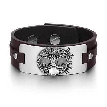 Tree of Life Live Love Be Your Self Celtic Amulet White Simulated Cats Eye Brown Leather Bracelet