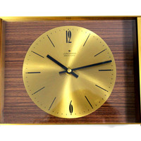 Mid Century Modernist Wall Clock Brass by JUNGHANS German 1960's