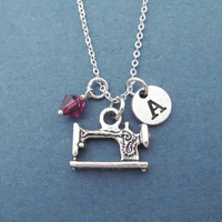 Personalized, Letter, Initial, Birthstone, Sewing machine, Silver, Necklace, Custom, Stone, Color, Gift, Jewelry